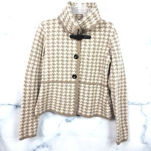 Tan & Ivory Wool Houndstooth Cardigan